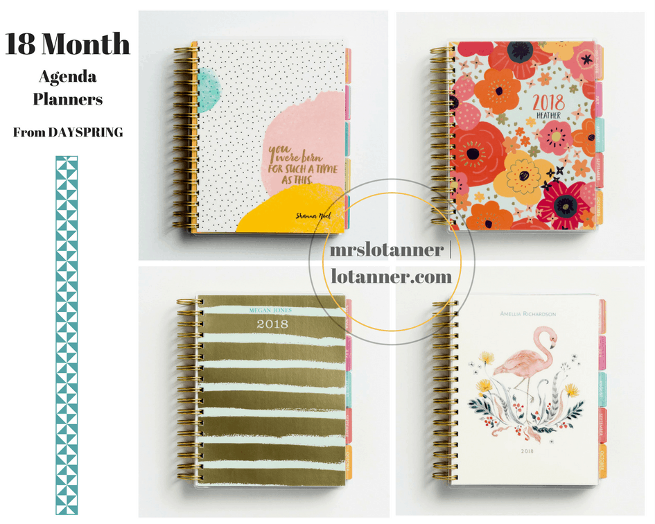 18 month agenda planners from DaySpring (referral link) http://www.shareasale.com/r.cfm?u=1582877&b=213520&m=25848&afftrack=&urllink=www.dayspring.com/gift-shop/agenda-planners @mrslotanner