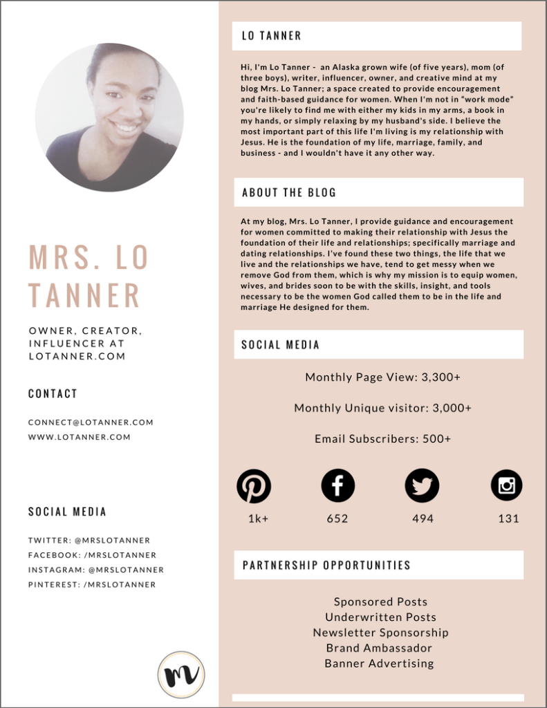 Mrs. Lo Tanner - Media Kit - Partnership Opportunities @mrslotanner