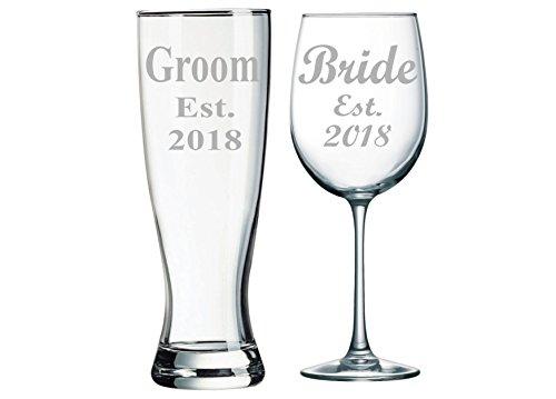 Groom Est. 2018 Pilsner Beer Glass, 23oz. and Bride Est. 2018 Wine Glass, 19oz. (set of 2)