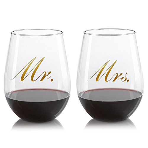 Mr. & Mrs. Stemless wine glasses, - Set of 2, 19 ounce, Wine Tumbler Set, with gold decal printing