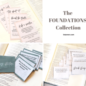Our favorite Bible study prompts in one collection! Go deeper in your Bible study with the Bible study prompts from the Foundations Collection. http://www.lotanner.com/product/foundations-bible-study-prompts @mrslotanner